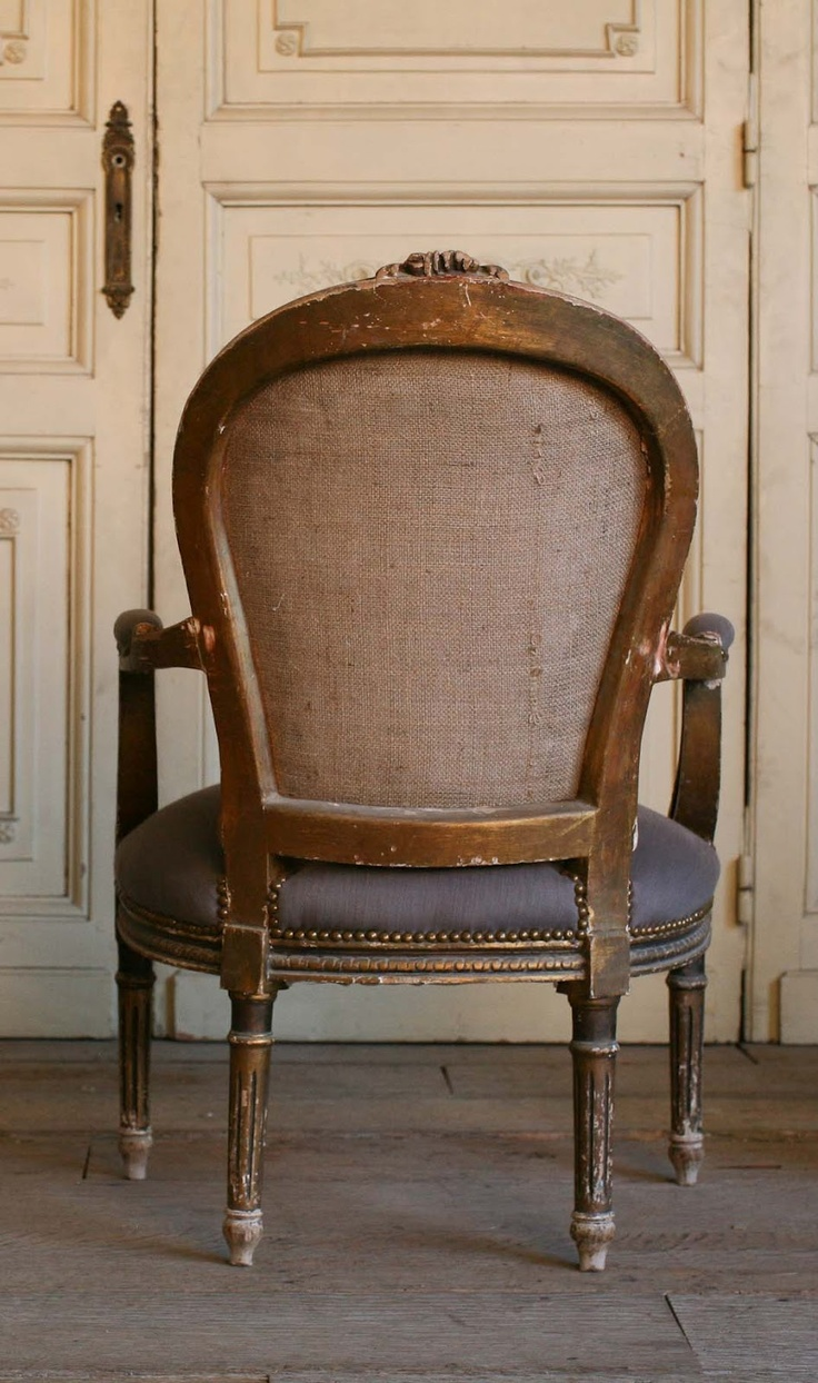 Vintage Armchairs Very cool Louis XVI worn gilt Armchairs, these have a great look, upholstered with dark grey cotton. 37H x 25W x 24D Seat Height: 17 Arm Height: 24 as seen on l