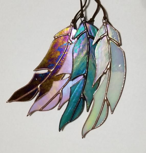 glass art spiritual gift angel feather gift Stained glass feather suncatcher