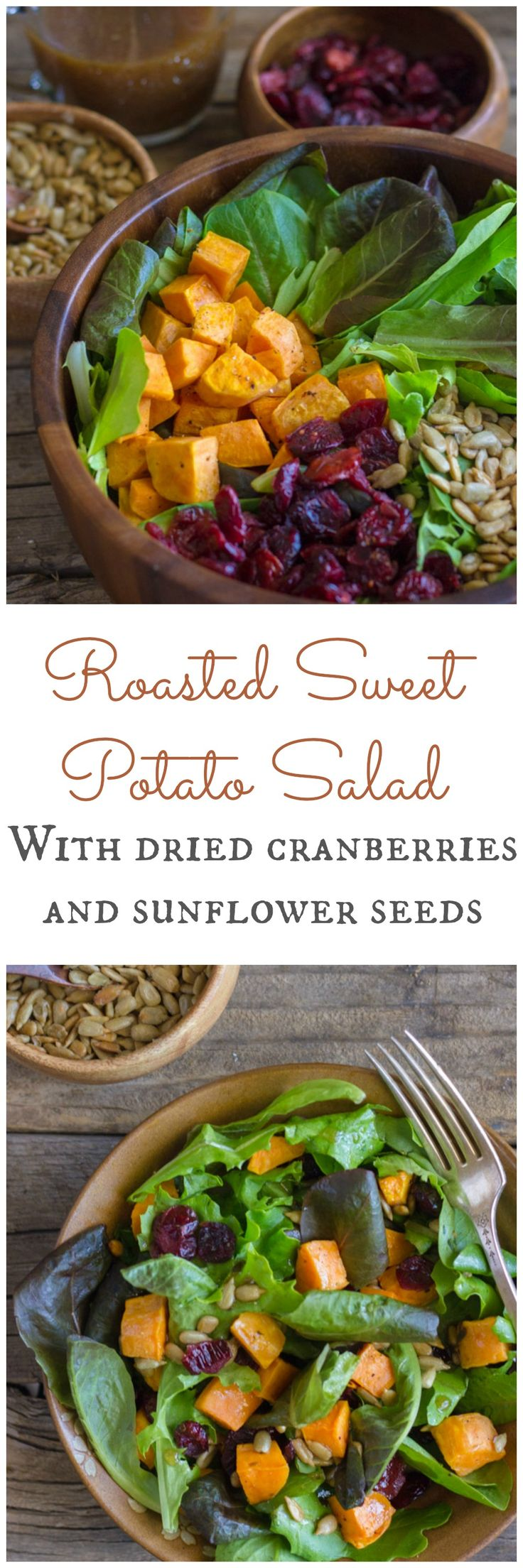 Roasted Sweet Potato Salad with dried cranberries, sunflower seeds and Kraft Balsamic Vinaigrette.  #KraftSaladDressing