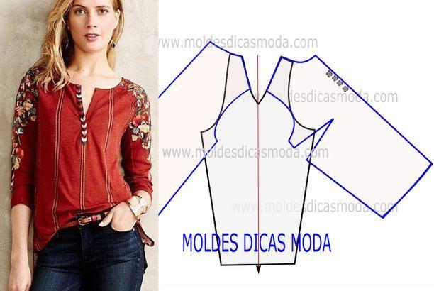 MOLDE DE BLUSA MANGA RAGLAN -94