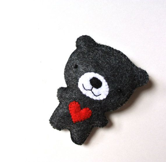 Bear Felt Brooch Black Bear Red Heart Felt Pin Black by mikaart, $17.99                                                                                                                                                                                 More