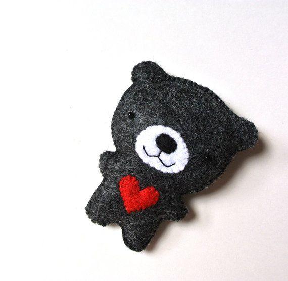 Bear Felt Brooch Black Bear Red Heart Felt Pin Black by mikaart, $17.99