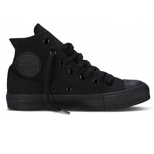Make a tough statement in Converse Chuck Taylor Black Monochrome iconic hi tops with old skool kool! An American comfy classic with high profile style! Constructed with a black rubber cap toe, edge, s