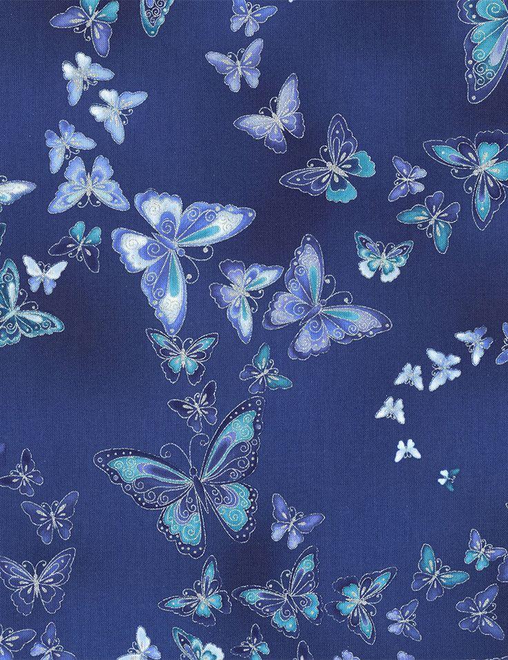 Timeless Treasures - Dutchess Dutchess-CM5228-Blue Allover Butterflies