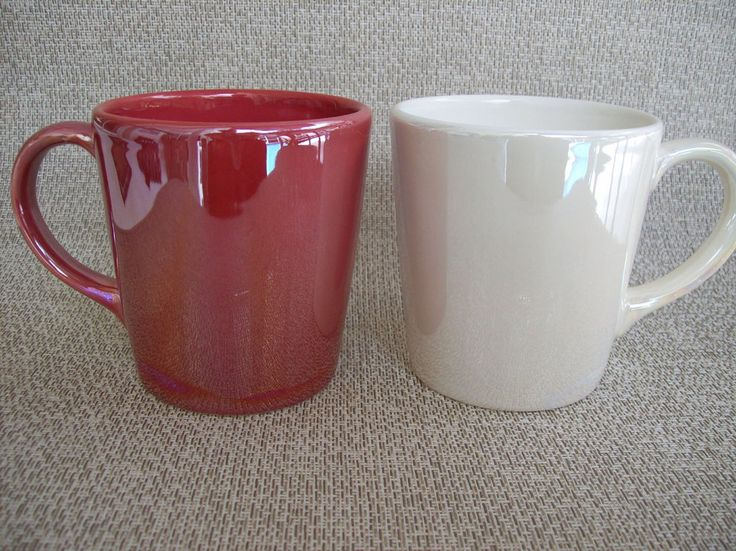 Two Starbucks Iridescent Coffee Mugs 2012 Red and Ivory Made in Portugal…