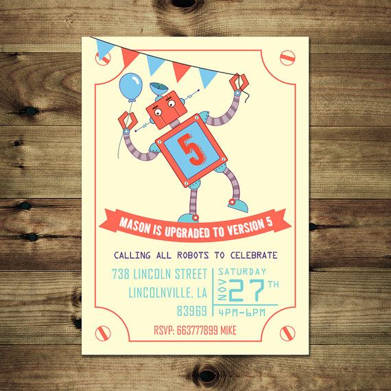 Robot Birthday Invitation Bday_inv_024 by PapierMignonID on Etsy