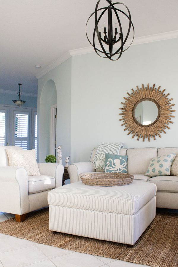 Paint color Top Sail by Sherwin Williams. Coastal Florida living room decor