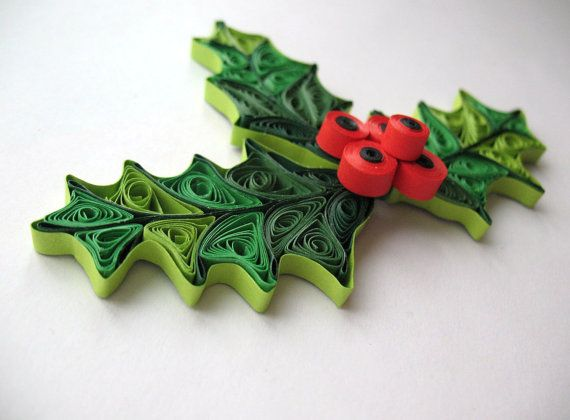 Quilled mistletoe Holiday christmas mistletoe by PaperDreamland