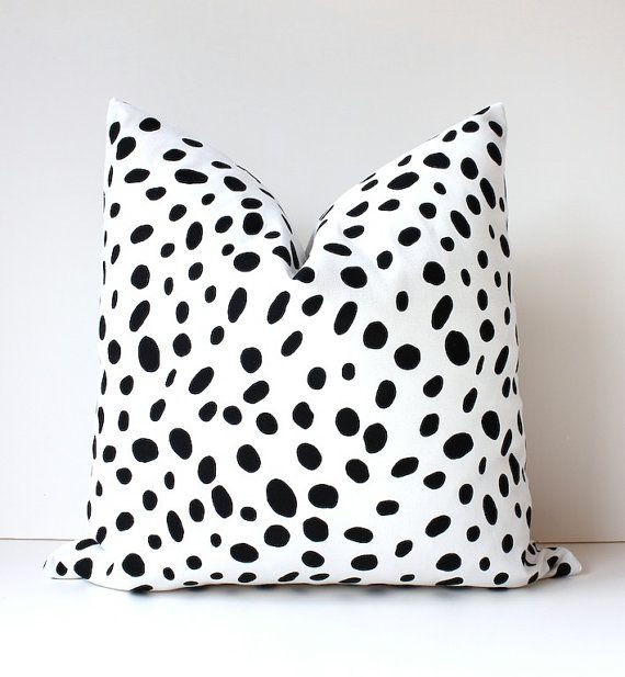 """breakfast nook - Spotted Black & White Decorative Designer Pillow Cover 18"""" Accent Throw Cushion polka dots spots gray Animal print togo bw"""