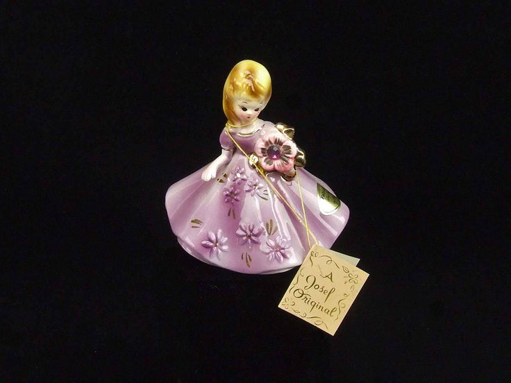 Vintage February Josef Original Porcelain Lady Birthday Figurine Amethyst Birthstone with Hang Tag and Paper Label by RetroCentsStudio on Etsy