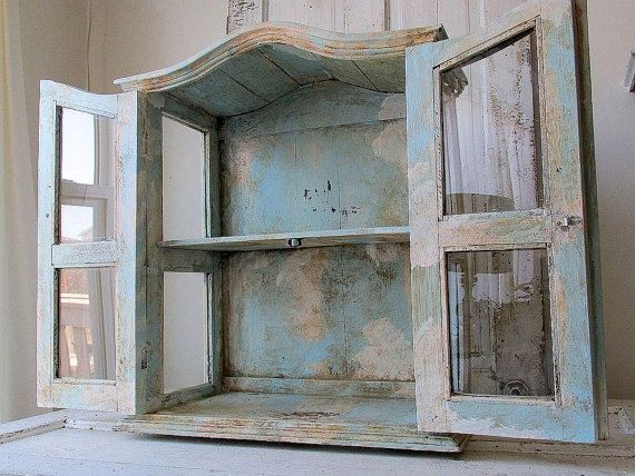 Large display cabinet distressed French blue and white wood and glass showcase very heavy well made antique home decor anita spero design   490