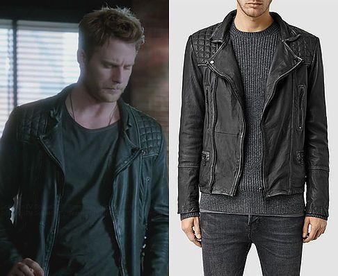 "Brian Finch (Jake McDorman) wears an AllSaints Cargo Leather Biker Jacket in the color Black/Grey in Limitless Season 1 Episode 5 ""Personality Crisis."""