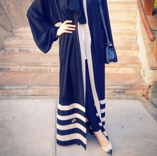 Pinterest: @eighthhorcruxx. Navy and white abaya