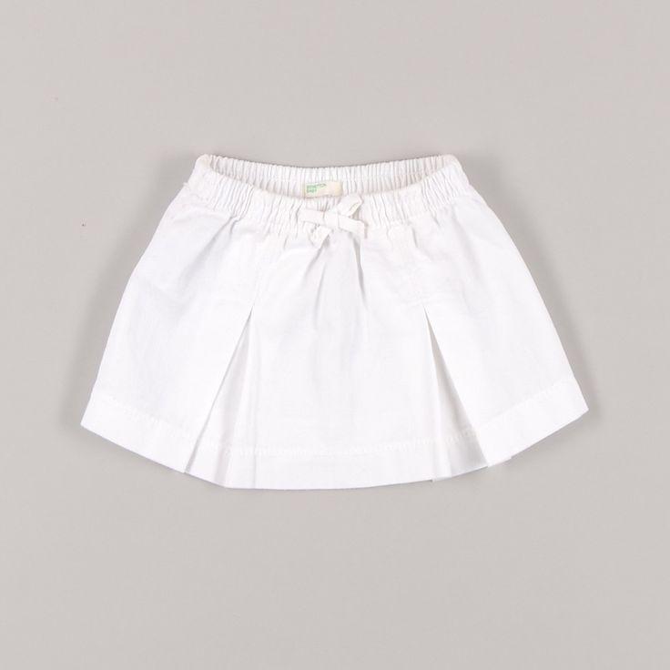 Falda tablas con lazo en cintura color Blanco de la marca Benetton - Tienda Segunda Mano Bebé