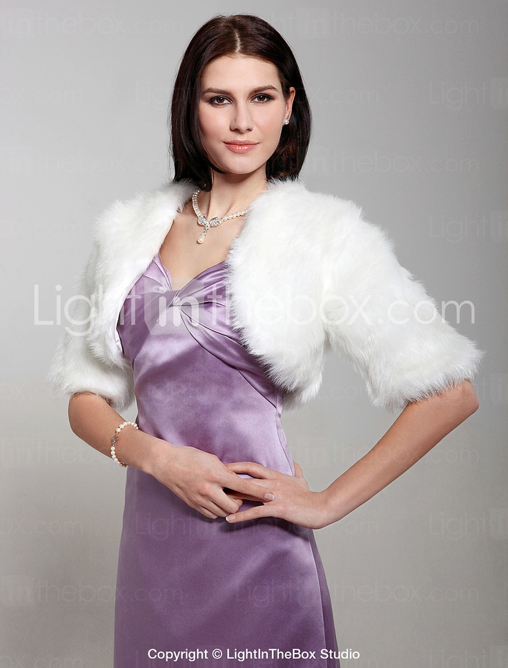 3/ 4-length Sleeve Faux Fur Jacket