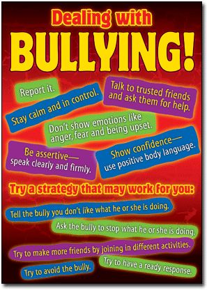 Dealing with bullying poster from the bullying in a cyber world series. Ideal for school or workplace use.