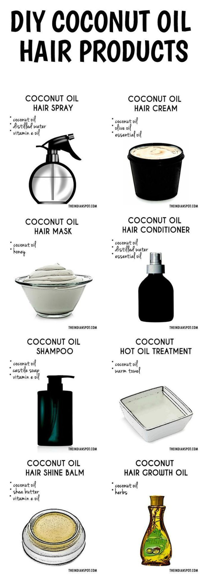 Best DIY Hair Masks And Face Masks : DIY Coconut Oil Hair Products