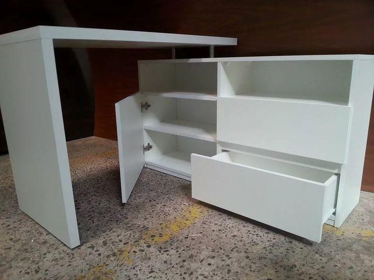 escritorio esquinero moderno mxm melamina blanca