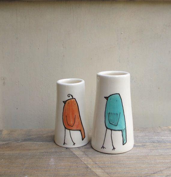 two bird vases, orange and blue bird valentine's gift for her, gardener, gift under 25