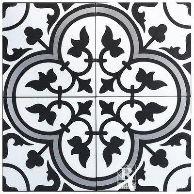 "Rustico Tile & Stone MeaLu 8"" x 8"" Roseton B Cement Tile & Reviews   Wayfair"