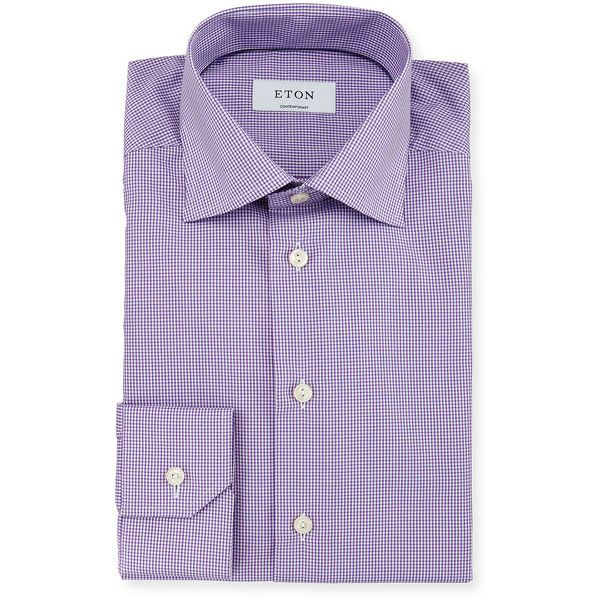 Eton Contemporary-Fit Micro-Gingham Woven Dress Shirt ($265) ❤ liked on Polyvore featuring men's fashion, men's clothing, men's shirts, men's dress shirts, purple, mens purple dress shirt, mens cotton shirts, mens dress shirts, mens woven shirts and mens cotton dress shirts