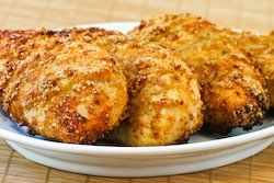 So much better than fried!!! Melt in Your Mouth Chicken Breast, 1/2 c parmesan cheese,1 c Greek yogurt, 1 tsp garlic powder, 1 1/2 tsp seasoning salt 1/2 tsp pepper, spread mix over chicken breasts, bake at 375 45 mins looks-delicious... I'll give this a whirl