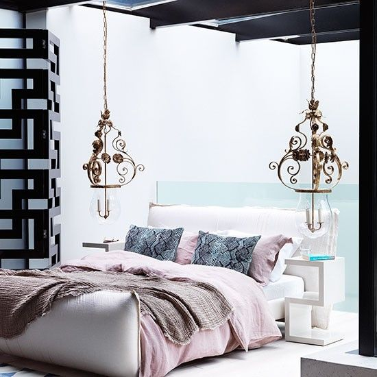 Pastel Bedroom With Twin Pendant Lights Retire From The World To This Linen  Edged Bed, Dressed With Cool Bedlinen In White And Pink.
