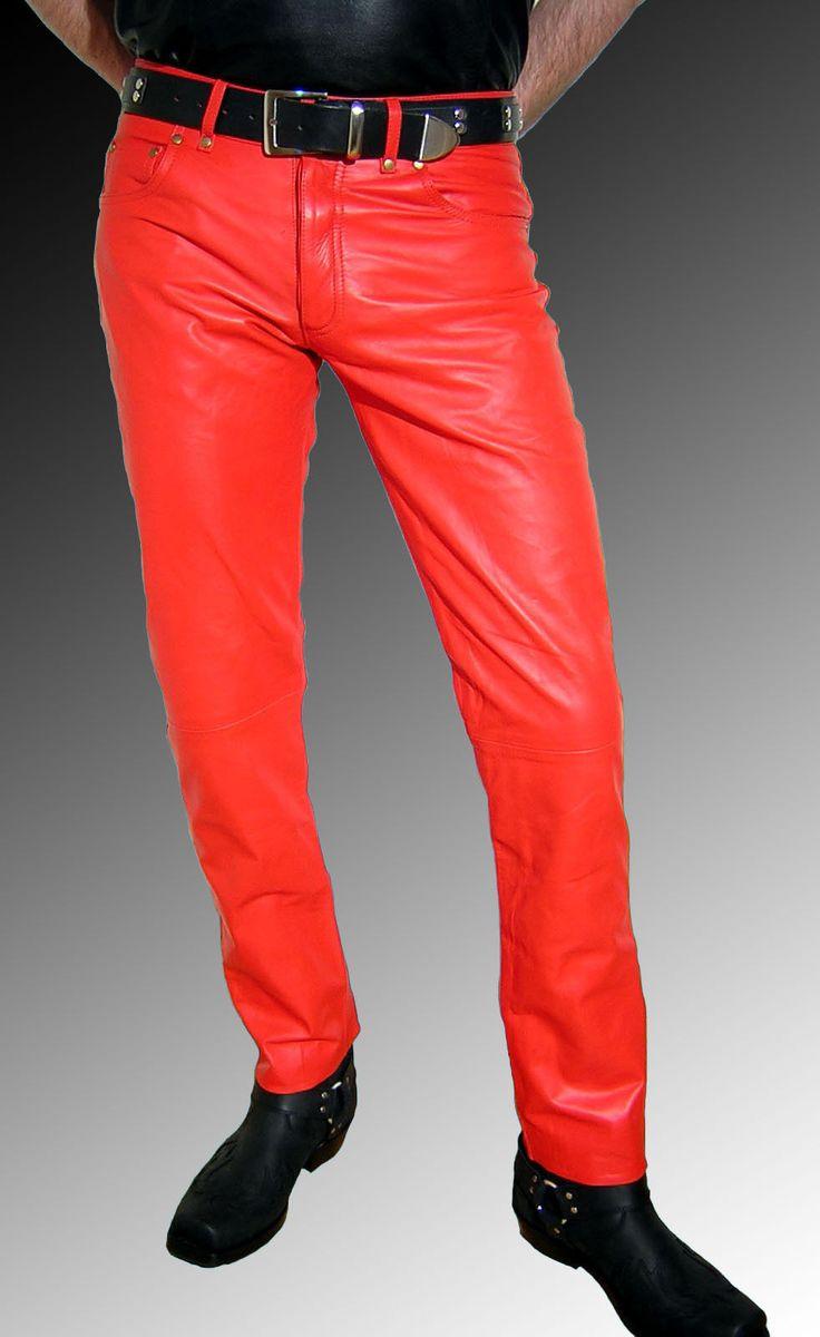 handmade men leather jeans red leather pants red mens fashion jackets pinterest red. Black Bedroom Furniture Sets. Home Design Ideas