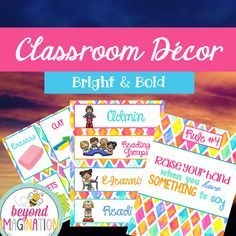 Classroom decor bundle. A bright and bold decor bundle that is full of supply labels, classroom rules, daily schedule cards, and much more! Perfect for back to school.