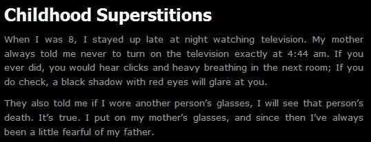Childhood Superstitions - Story