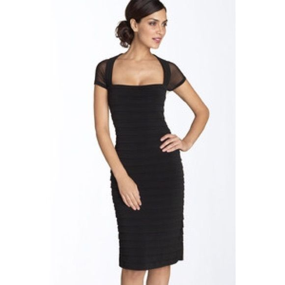 Maggy London Black Pleated Dress Black pleated jersey knit dress size 2, brand new without tags. Maggy London Dresses Midi