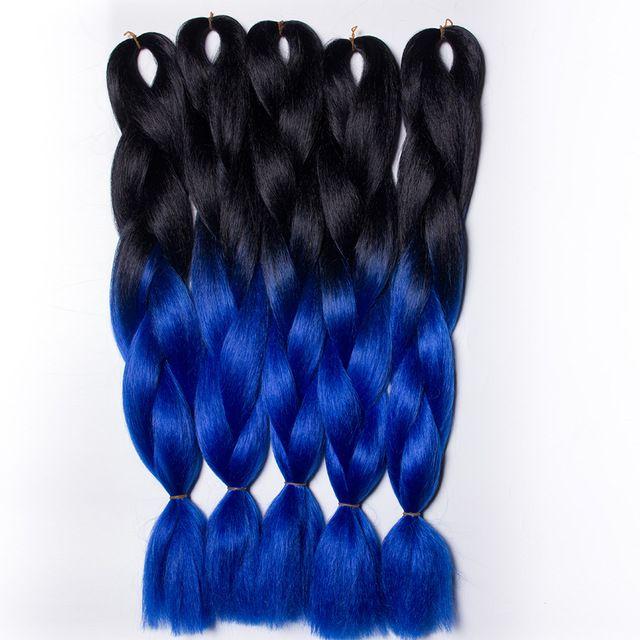 """Preto Escuro Lago azul 10 peças 24 """"100 g/pc Ombre Dois Tons Kanekalon Jumbo Trança Expressão Sintética Caixa de Crochê trança de Cabelo"""