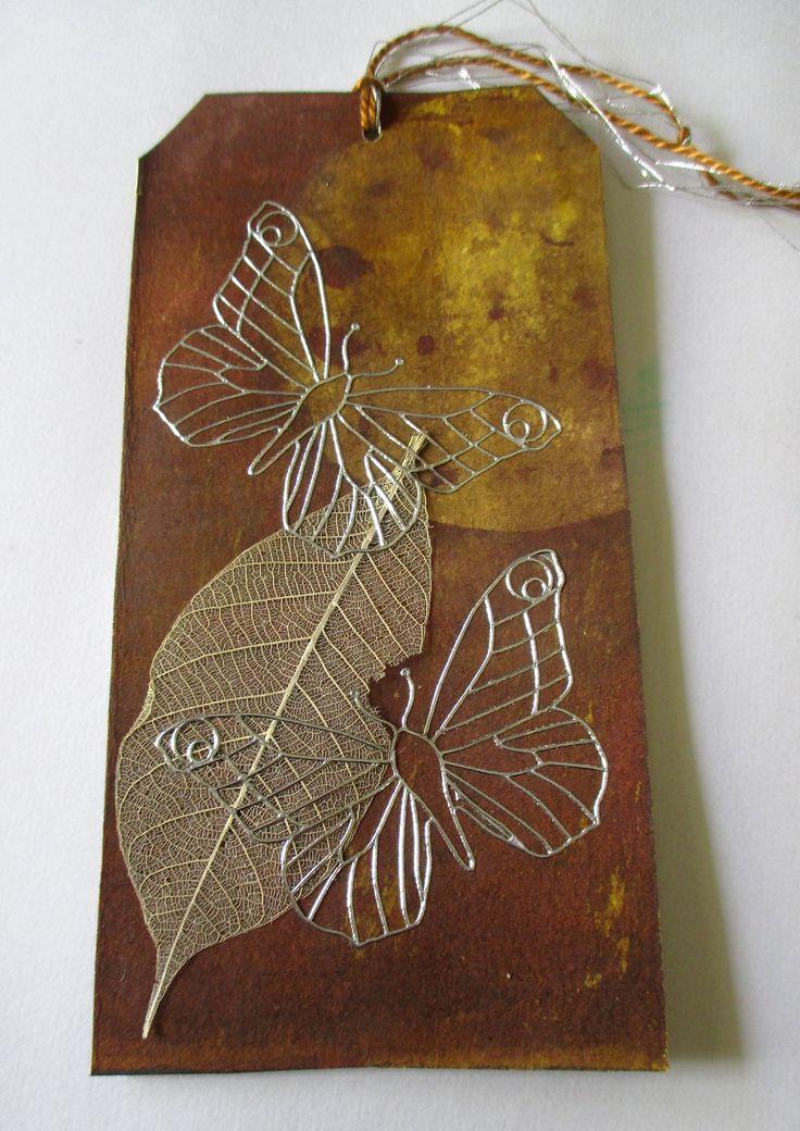 Silver - art tag - wax and dye, stickers, skeleton leaf Wilma Simmons (Newcastle, Australia) https://www.facebook.com/Empress.Wu.Designs