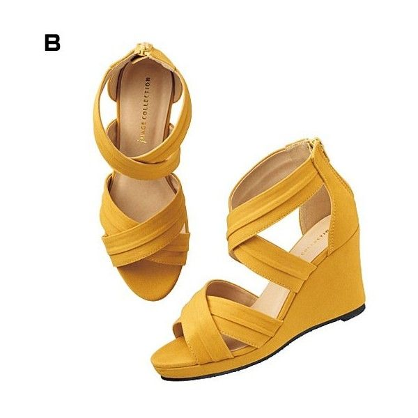 [IMAGE] Cross Design Wedge Sandals 2015 Midsummer Lineup, Ladies' ($51) ❤ liked on Polyvore featuring shoes, sandals, wedge heel sandals, cross sandals, cross shoes, wedge sandals and wedges shoes