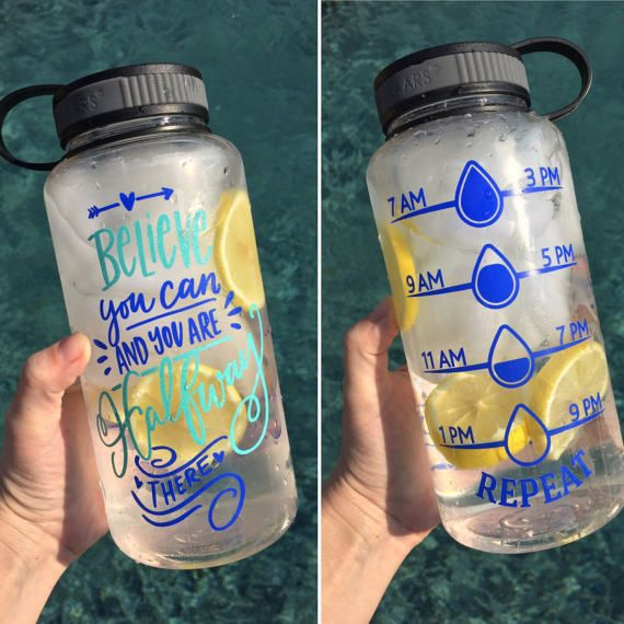 Believe You Can Wide Mouth Water Bottle with Tracker, Water Intake Tracker, 34oz, Inspirational Water Bottle, Screw On Lid, Drink Your Water