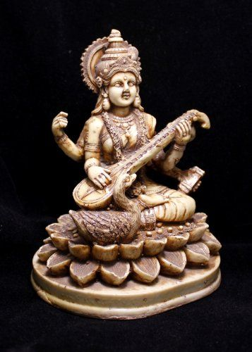 "Hand Carved Meditating Hindu Goddess Saraswati Resin Idol Sculpture Statue Size 6""x4.5"" Krishna Mart India http://www.amazon.com/dp/B00CZ7Y71Y/ref=cm_sw_r_pi_dp_MY.xwb0RDEADM"