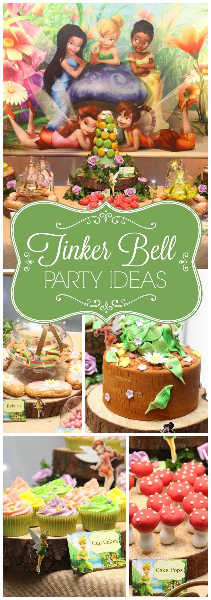 Love this Tinker Bell fairy girl birthday party! See more party ideas at CatchMyParty.com!