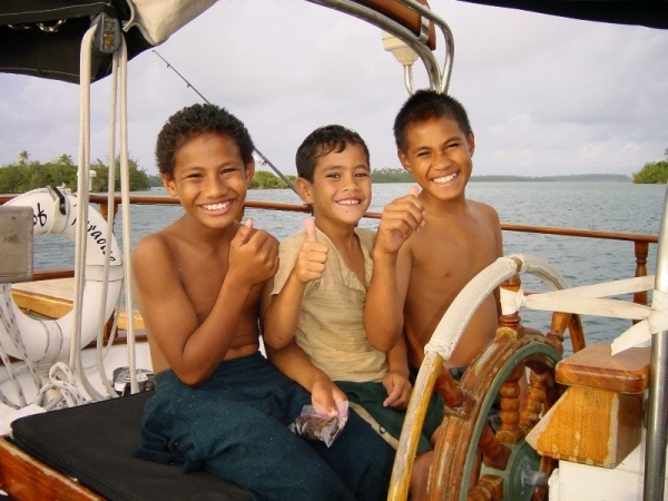 Tonga..they have the cutest and happiest kids