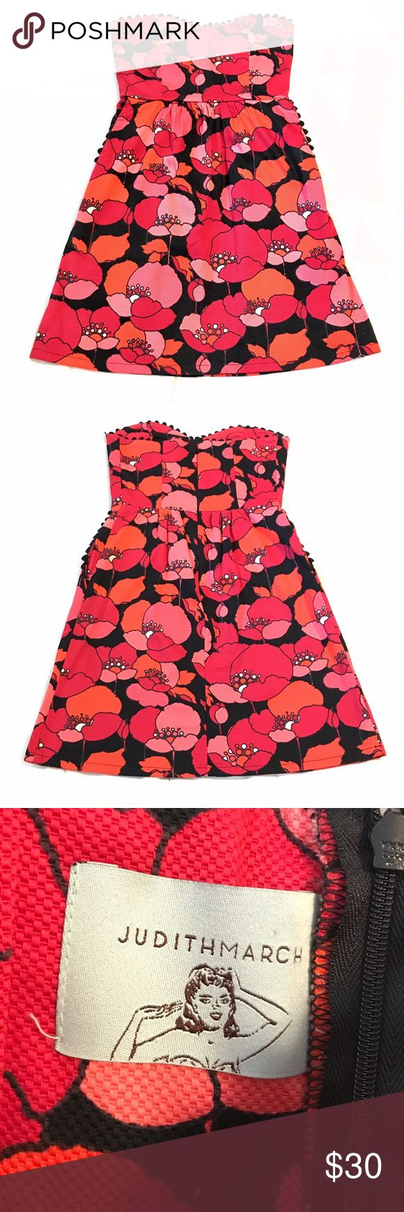 Judith March strapless dress / Size Small Judith March floral strapless dress with side pockets / Size Small / Like New / only worn once Judith March Dresses Strapless