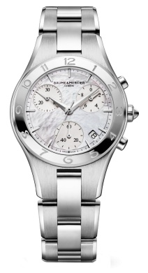 Baume and Mercier Linea Chronograph Mother of Pearl Diamond Ladies Watch MOA10012