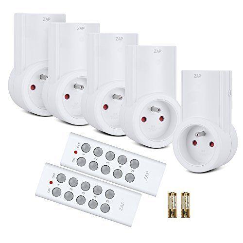 Etekcity Lot de 5 Prise Télécommandée Programmable, Prise Electrique, Deux Télécommandes Incluses, Fonction All ON/ All OFF, Piles…
