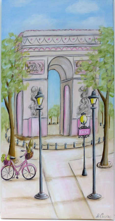 Paris themed canvas paintings for girl's room or nursey