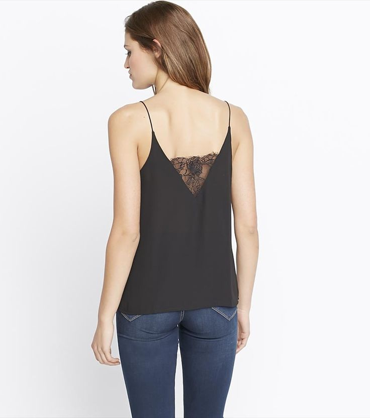 Dress up your everyday look with this glamorous black cami! It features sexy lace panels and a flowy fit.