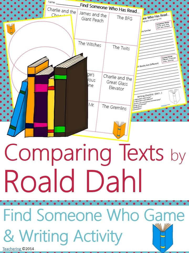 "Roald Dahl Author Study activities: ""Find Someone Who Has Read"" game and compare contrast writing activity about Roald Dahl's books! Fun opening or closing activity for an author study-- aligned to Common Core! TONS of other author studies in this store! #Teachering"