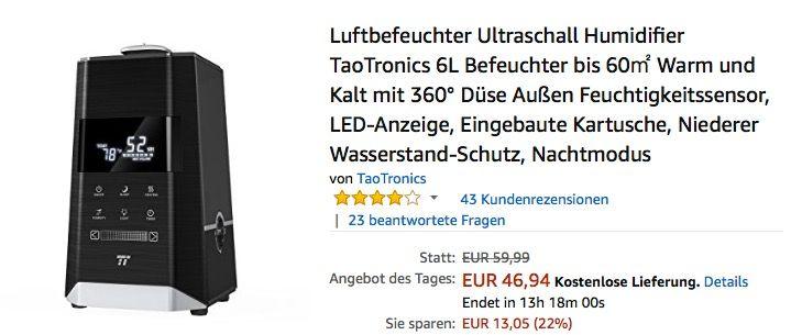 TaoTronics Ultraschall Luftbefeuchter TT-AH008 - jetzt 22% billiger