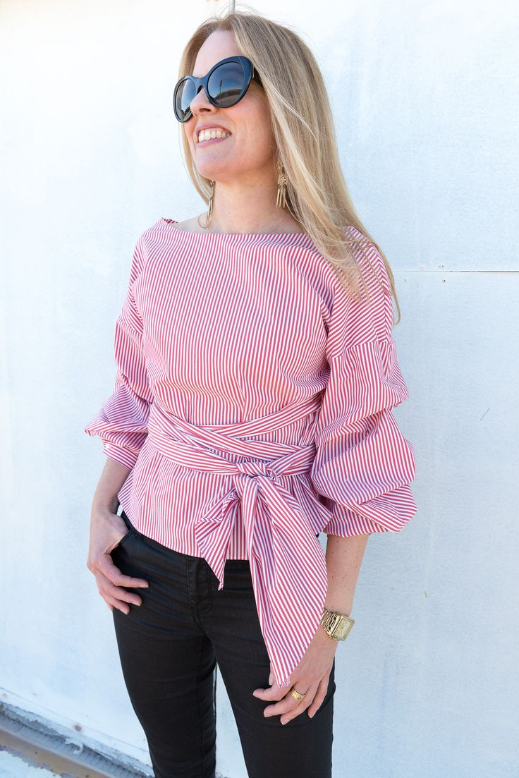 ZARA red strip wrap top with pleated sleeves | Ali Peat