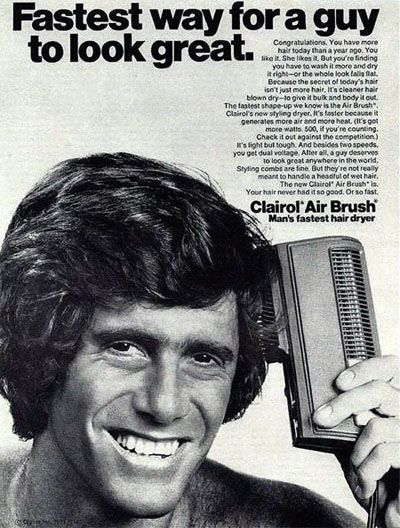 Clairol Air Brush for men, 1970s. LOL. Preserve your memories for posterity at http://www.saveeverystep.com