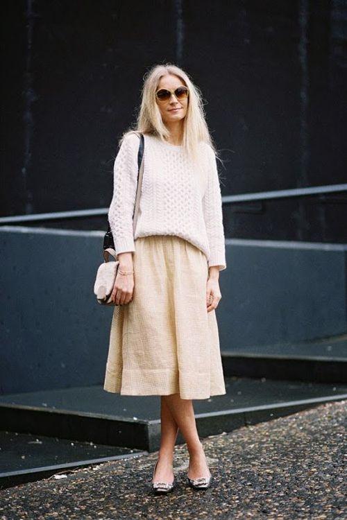 ( cable knit crewneck sweater, midi skirt - Stylist Martha Ward, London Fashion Week FW14 )