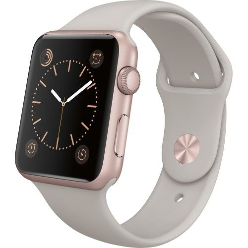 Apple - Apple Watch Sport 42mm Rose Gold Aluminum Case - Stone Sport Band - Front Zoom