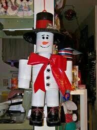 Snowman tin man made out of cans
